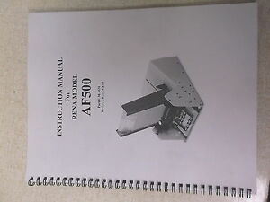 Used Rena Instruction Manual For Af500 M 3031 Free Shipping