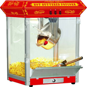 Red 8 Oz Popcorn Machine W Stainless Steel Kettle Countertop Oil Popper Maker