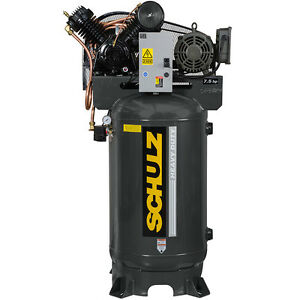 7 5 Hp Single Phase 80 Gallon 175 Psi 30 Cfm Schulz Air Compressor