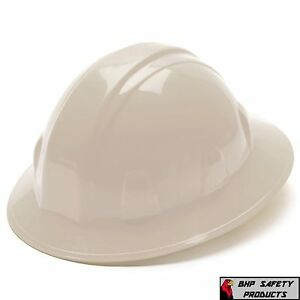 Pyramex White Full Brim Safety Hard Hat 4 Point Ratchet Suspension Hp24110