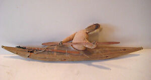 Vintage Rare North West Native Eskimo Inuit Toy Canoe With Rowing Figure