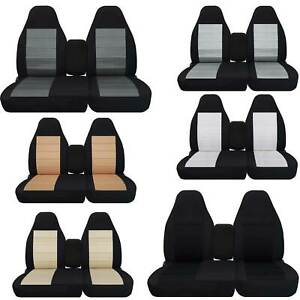 Cotton Two Tone Car Seat Covers Choose Color Fits 96 03 Ford F150 40 60 Highback