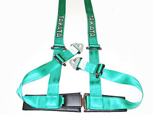 Takata Drift Ii 4 Point Snap on 2 Racing Seat Belt Harness green