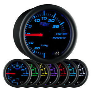 Glowshift Black Clear Lens 7 Color 30 Psi Turbo Boost Vacuum 52mm Gauge Gs C701