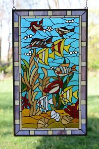 20 X 34 Fish Under The Sea Handcrafted Stained Glass Window Panel