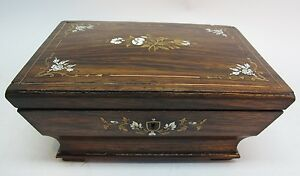 Finely Inlaid 19th C English Rosewood Sewing Jewelry Box C 1840 Antique