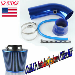 75mm 3 Short Blue Cold Air Intake Pipe Kit Cold Air Filter For Ford Subaru