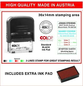 Colop Self Inking Rubber Stamp Personal 3 Line Return Adress Custom free Stamp