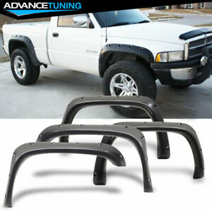 For 94 01 Dodge Ram Rear Front Fender Flares 4pcs Pocket Style Smooth Black Abs