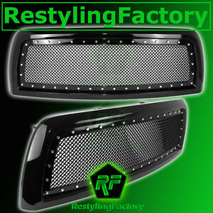 10 12 Dodge Ram 2500 3500 Hd Black Replacement Rivet Studded Mesh Grille Shell