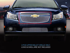Fits 2011 2014 Chevy Cruze Polished Billet Grille Front Upper Grill