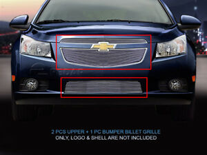 Fits 2011 2014 Chevy Cruze Lt Rs Ltz Rs Billet Grille Front Grill Combo