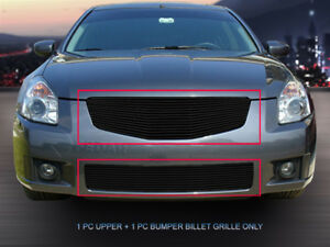 Fits 2007 2008 Nissan Maxima Black Billet Grille Grill Combo Grill