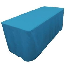 4 Ft Fitted Polyester Table Cover Trade Show Event Tablecloth Turquoise Blue