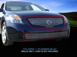 Fits 2007 2008 2009 Nissan Altima Sedan Billet Grille Front Grill Combo 2 Pcs