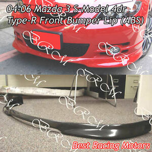 Type r Style Front Bumper Lip abs Fits 04 06 Mazda 3 4dr S model