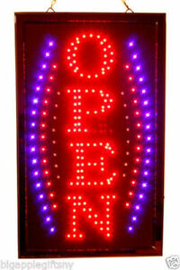 Large Vertical Animated Led Open Sign W Motion On off Switch 21 X 13 026