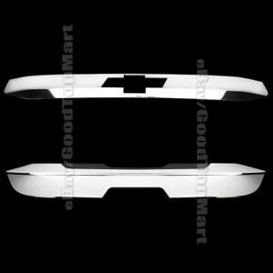 For Chevy Tahoe 15 16 17 Chrome Covers Rear Trunk Tailgate Logo 2pc Top Bottom