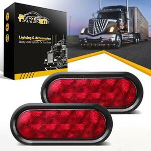 2 Trailer Truck Led Sealed Red 6 Oval Stop Turn Tail Light Marine Waterproof