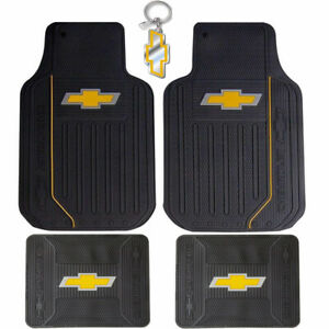 New Black Gold Bowtie Elite Rubber Floor Mats Car Truck Suv For Chevrolet Chevy