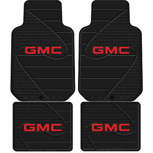 New Gmc Factory Logo Series Black Front Rear Rubber Floor Mats Made In Usa