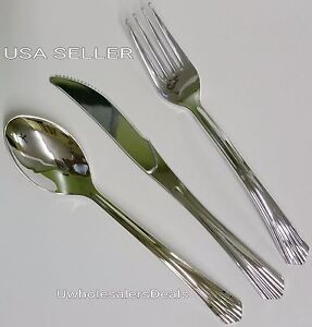 100 Sets Plastic Silver Forks spoons knives Cutlery Look Of Silverware 300 Pcs