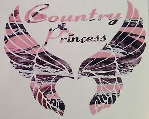Camo Wings Country Princess Truck Decal 5 Girl Country Muddy Browning Rodeo