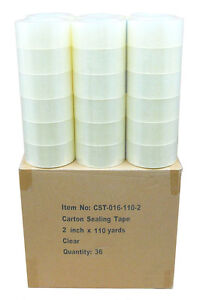 36 Rolls Clear Box Carton Box Sealing Packing Tape Roll 2 X 110 Yards