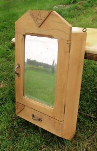 Vintage Medicine Kitchen Wall Cabinet Apothecary Wood Beveled Glass Mirror