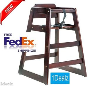 Solid Wood Heavy Duty Restaurant Stackable High Chair With Seat Belt Mahogany