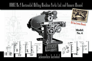 Burke Model No 4 Horizontal Milling Machine Army Service Manual And Parts Lists