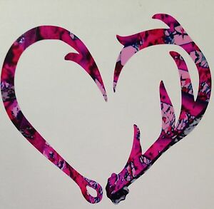 New Antler Fishing Hook Heart Decal 5 Camo Hunting Muddy Outdoor Country Girl