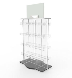 Plexiglass Acrylic 16 bar Bracelet Watch Jewelry Rotating Spinner Display Rack