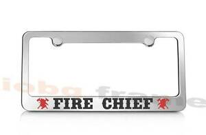 Fire Chief Firefighter Fire Man Supreme Chrome Metal License Plate Frame Caps