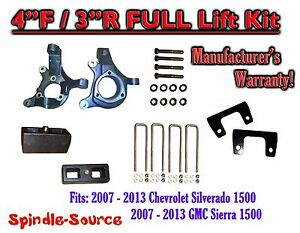 2007 2013 Chevy Silverado Gmc Sierra 1500 4 Inch 3 Spindle Lift Kit 2wd