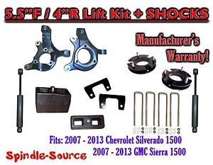 2007 2013 Chevy Silverado Gmc Sierra 1500 5 5 4 Spindle Lift Kit Shocks