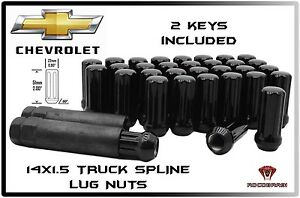 24 Pc Black Spline 14x1 5 Truck Locking Lug Nuts Chevy Gmc 6x5 5 Toyota Cadillac