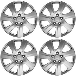 4pc Hub Cap Abs Silver 17 Inch For Oem Rim Wheel Skin Replica Cover Covers Caps