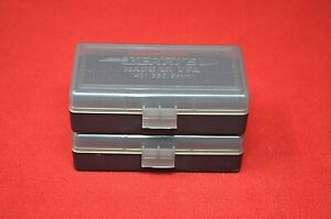 (2) BERRY'S PLASTIC AMMO BOX CLEAR COLOR 50 Round 9MM 30 25 32 MPN