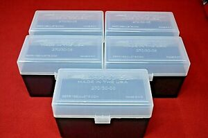 (5) 3006 270 3006 30-06 BERRYS AMMO BOX (CLEAR) 50rds storage each BRAND NEW