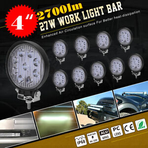 10x 27w Spot Led Work Light Bar Lamp Fog Driving Offroad Suv Jeep Truck Boat Atv