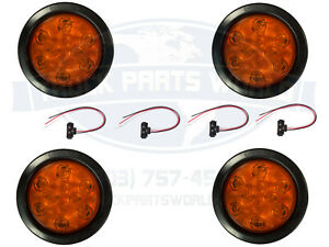 4 Amber 10 Led 4 Round Truck Trailer Brake Auxiliary Turn Tail Lights