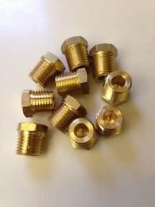 10 Pcs 1 4 Npt Male Pipe Thread Brass Pipe Cored Hex Head Plug Made In Usa