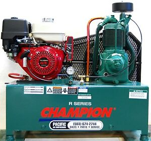 Champion Hgr7 lph 4 Gal Twin Tanks 13hp Honda Gas Compressor Gx390 Elec Start