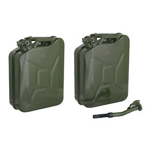 2 Jerry Cans 20 Liters 5 Gallons Backup Steel Tank Fuel Gas Gasoline Green