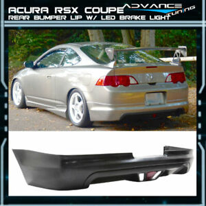 Fits 02 04 Acura Rsx Coupe 2dr Mug Style Pu Rear Bumper Lip W Led Brake Light
