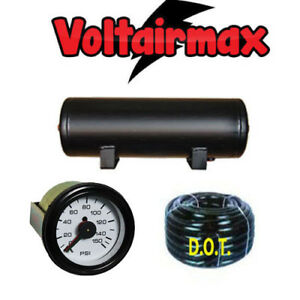 5 Gallon Air Tank 5 Port Air Ride Suspension Compressor 150 Gauge Voltairmax