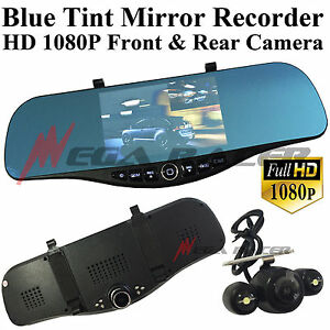 New Blue Tint 1080p Hd Front back Camera Recorder Rearview Mirror m5 Mercedes