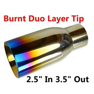 2 5 In 3 5 Out Blue Burnt Exhaust Duo Layer Tip Polished Stainless Steel