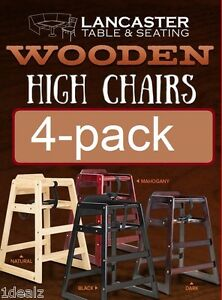 Restaurant Style Wood High Chair Natural Wood Finish 4 Pack Deal Free Fedex